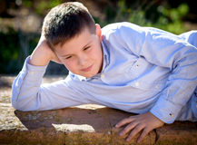 Portrait shoot outdoors with a child Royalty Free Stock Photos