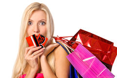 Portrait of shopper with bags and discount card Royalty Free Stock Photo