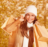 Portrait of shopper girl Royalty Free Stock Images