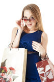 Portrait of shopping happy girls Royalty Free Stock Images