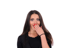 Portrait shot of a beautiful caucasian woman happy and surprised. Royalty Free Stock Image