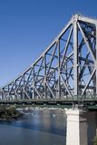 Portrait shot of river and bridge. Portrait image of story bridge in australia stock images
