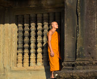 Portrait shot of an unidentified Buddhist monk in Angkor Wat Stock Photos