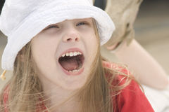 Portrait of a shouting beautiful girl royalty free stock photos