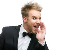 Portrait of shouting businessman Royalty Free Stock Photos