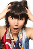 Portrait of a shouting girl. Stock Photo