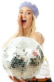 Portrait of shouting model holding disco ball Stock Photo