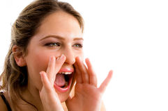 Portrait of shouting young model. With white background Royalty Free Stock Photography