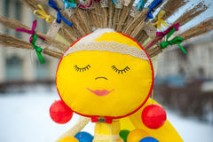 Portrait of Shrovetide doll simbolizing sun. Russia, Yaroslavl 16 of February 2015 Royalty Free Stock Photo
