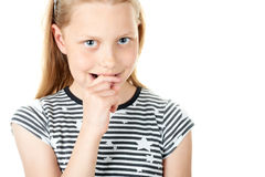 Portrait of a shy little girl on white Stock Photo