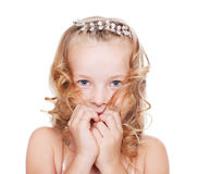 Portrait of shy pretty little girl Stock Photography