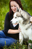 Portrait of a Siberian Husky dog outdoors and a girl Stock Photos