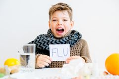 Boy having flu Royalty Free Stock Photo