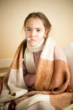 Portrait of sick girl with chickenpox measuring temperature Stock Images