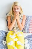 Girl having flu. A portrait of a sick girl having flu stock image