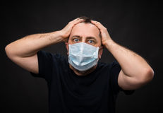 Sick old man in medical mask Royalty Free Stock Image