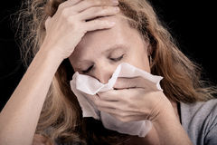 Portrait of a sick woman Stock Photos