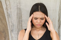 Portrait of sick woman with a headache, stress, migraine, hangov Royalty Free Stock Images