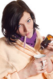 Portrait of sick young woman Royalty Free Stock Images