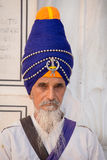 Portrait Sikh man in Golden Temple, Amritsar, Punjab, India. Close up Royalty Free Stock Photo