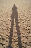 Shadow silhouette of a young girl on the beach. Portrait silhouette, the shadow of a girl on the beach sand Stock Photography