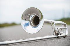 Portrait of a silver Trombone Stock Image