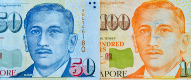 Singapore banknote dollar SGD. Portrait on Singapore banknotes 50-100 SGD. Singapore has a highly developed and successful free-market economy Stock Photography