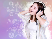 Portrait of singing cute teenage girl Stock Images