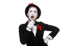 Portrait of the singing mime with open mouth Royalty Free Stock Image
