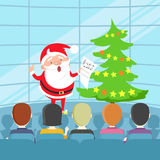 Portrait of Singing Santa Claus in front of People Stock Photography