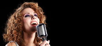 Portrait of singing woman Stock Image