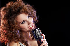 Portrait of singing woman Stock Images