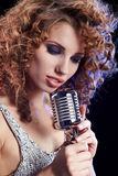 Portrait of singing woman Stock Photo