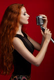 Portrait of singing woman Royalty Free Stock Images