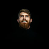 Portrait of single bearded handsome young caucasian man with big Stock Photo