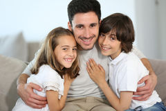 Portrait of single father with children Royalty Free Stock Photo