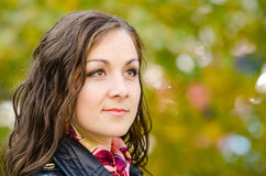 Portrait of a single-minded young girl in autumn clothes Royalty Free Stock Photo