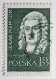 Portrait of Sir Isaac Newton on a post stamp. Portrait of Sir Isaac Newton on canceled, vintage post stamp from Poland Stock Photography