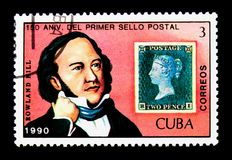 Portrait of Sir Rowland Hill and stamps of GB, serie, circa 1990. MOSCOW, RUSSIA - NOVEMBER 25, 2017: A stamp printed in Cuba shows Portrait of Sir Rowland Hill Royalty Free Stock Photos