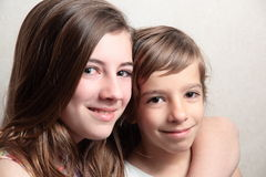 Portrait of sisters stock images