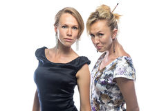 Portrait of sisters on white background Royalty Free Stock Image
