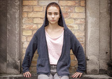 Portrait of a sitting teenager girl Royalty Free Stock Photos