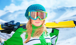 Portrait of skier girl Royalty Free Stock Photography