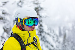Portrait of skier in high mountains Stock Image