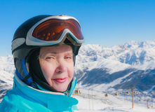 Portrait skier mountains in the background Stock Photography