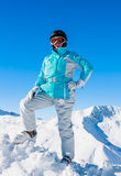 Portrait skier mountains in the background Royalty Free Stock Photo