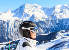 Portrait Skier Mountains In The Background. Ski Resort Courchevel Royalty Free Stock Images