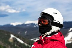 Skier standing on top of a mountain Stock Images