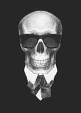 Portrait of Skull in suit. Hand drawn illustration Royalty Free Stock Photo