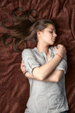 Portrait of sleeping girl Royalty Free Stock Photos